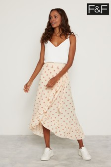 F&F Ecru Spot Tiered Skirt