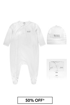 Boss Kidswear Baby White Cotton Babygrow