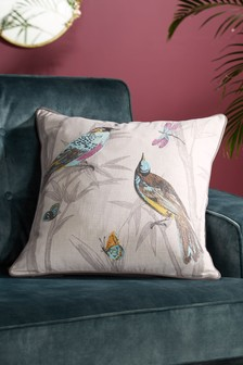 Embroidered Chinoiserie Bird Cushion