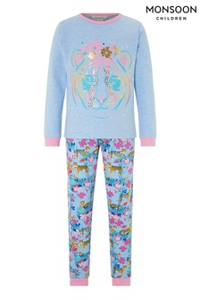 Monsoon Children Blue Tessa Tiger Jersey Pyjamas