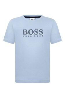 Boys Pale Blue Cotton Logo Print T-Shirt