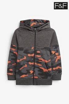 F&F Grey Camo With Orange Colour Pop Zip Through Top