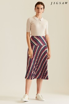Jigsaw Purple Irregular Stripe Pleated Skirt