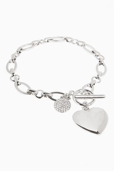 Pavé Disc Heart Charm Bracelet