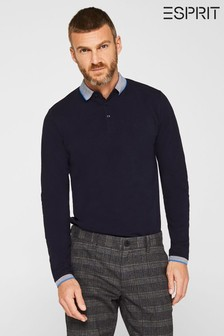 Esprit Long Sleeved Poloshirt With Collar And Sleeve Edge Details