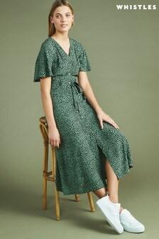 שמלה שלWhistles דגם Anita בהדפס חייתי מנוקד עם שרוולי מלמלה