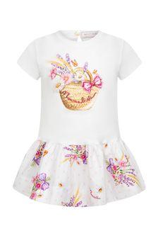 Monnalisa Baby Girls White Cotton Girls Dress