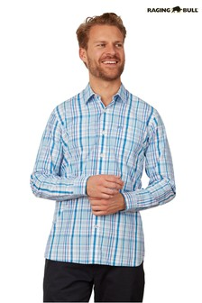 Raging Bull Blue Long Sleeve Check Shirt
