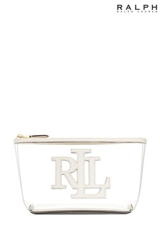 Ralph Lauren White Perspex Leather Make Up Bag