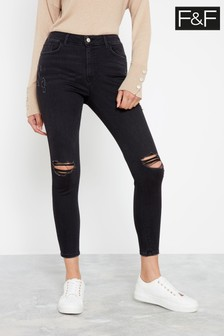F&F Black Push Up Ripped Skinny Washed Jeans