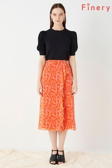 Finery London Orange Lisson Printed Wrap Bouquets Skirt