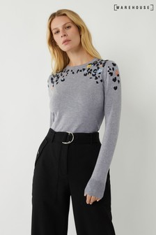 Warehouse Grey Embroidered Animal Jumper