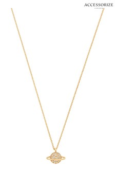 Accessorize Gold Plated Necklace With Sparkle Planet Pendant