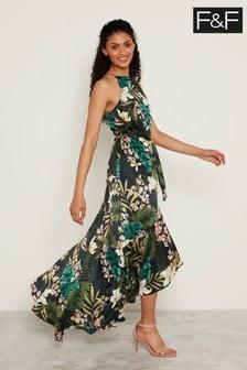 F&F Black Tropical Print Dress