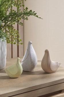 Set of 3 Multi Ceramic Birds
