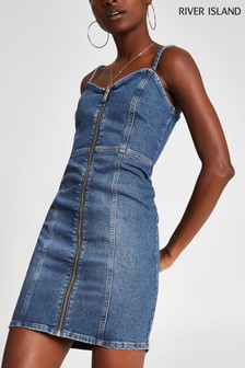 River Island Denim Medium Fantsia Mid Auth Dress