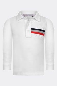 Baby Boys White Cotton Long Sleeve Polo Top