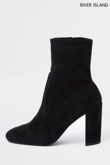 River Island Joy Sock Triangle Heel Boots