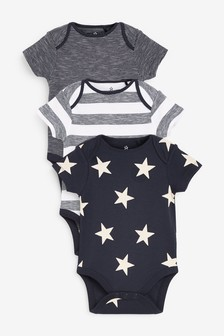 3 Pack Star Short Sleeve Bodysuits (0mths-3yrs)