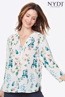 NYDJ Brookshire Popover Bluse mit botanischem Print