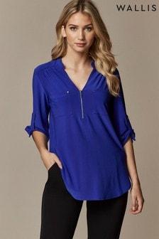Wallis Blue Petite Utility Shirt