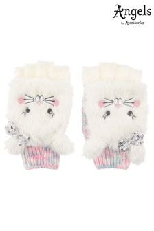 Angels by Accessorize White Fluffy Bunny Space Dye Capped Mittens