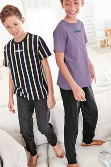 2 Pack Stripe Slogan Pyjamas (3-16yrs)