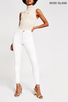 River Island White Coated Champagne Jeans