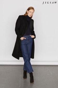 Jigsaw Black Modern Wool Military Coat