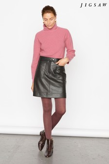 Jigsaw Black Patch Pocket Leather Skirt