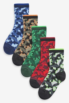 5 Pack Cotton Rich Camo Socks (Older)