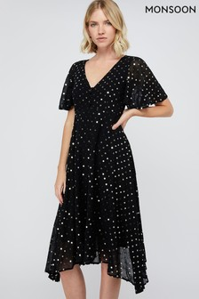 Monsoon Black Dela Sequin Hanky Hem Tea Dress