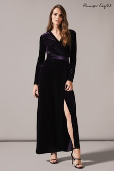 Phase Eight Purple Valeria Velvet Wrap Dress
