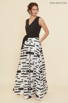 Gina Bacconi Black Pari Crepe And Organza Maxi Dress