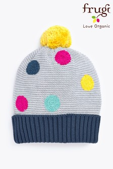 Frugi Grey Organic Bobble Hat With Embroidered Spot Detail
