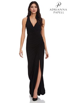 Adrianna Papell Black Jersey Halter Beaded Back Dress