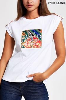 River Island Lamour Scarf Box Turn Back Sleeve T-Shirt