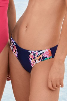 Placement Print High Leg Bikini Briefs