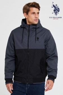 U.S. Polo Assn.拼色連帽飛行員夾克外套