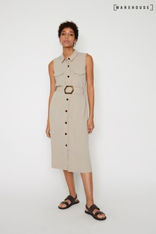 Warehouse Natural Linen Buckle Midi Shirt Dress