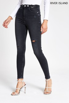River Island Washed Black Hailey Riding Jeans