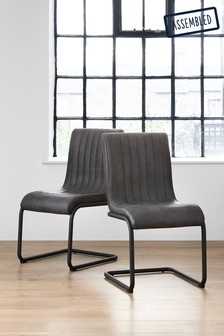 Set Of 2 Bernie Dining Chairs With Black Legs