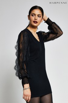 Harpenne Black Lace Sleeve Jumper Dress