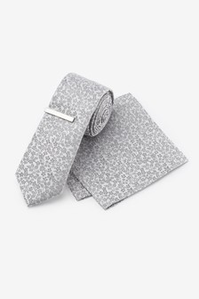 Floral Silk Tie, Pocket Square Set And Tie Clip Set