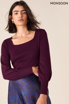 Monsoon Red Square Neck Knit Jumper With Lenzing™ EcoVero™