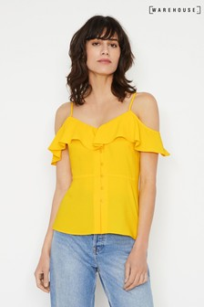 Warehouse Yellow Ruffled Cold Shoulder Top