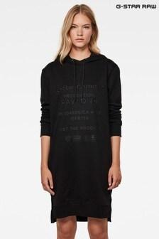 G-Star Black Graphic Text Boyfriend Hooded Sweat Dress