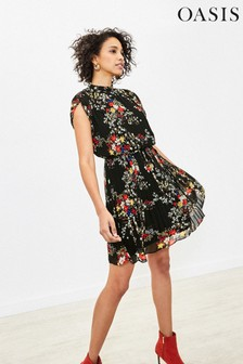 Oasis Black Floral Pleat Skater Dress