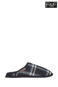 F&F Navy Lip Back Check Mules