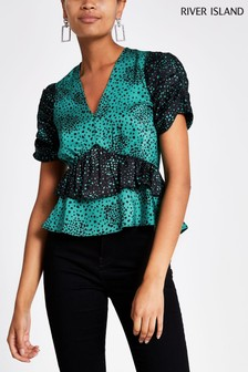 River Island Green/Black Frilly Layer Top